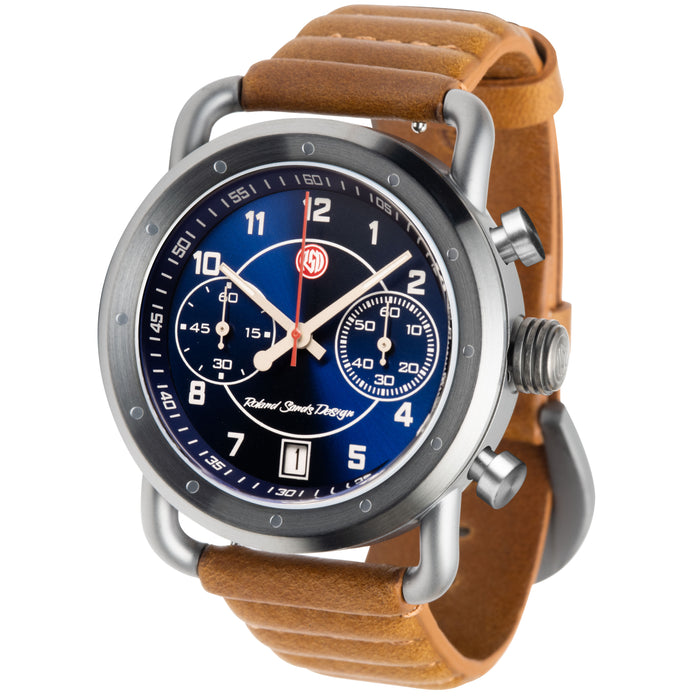Szanto Icon Roland Sands Signature Chronograph Blue Tan angled shot picture