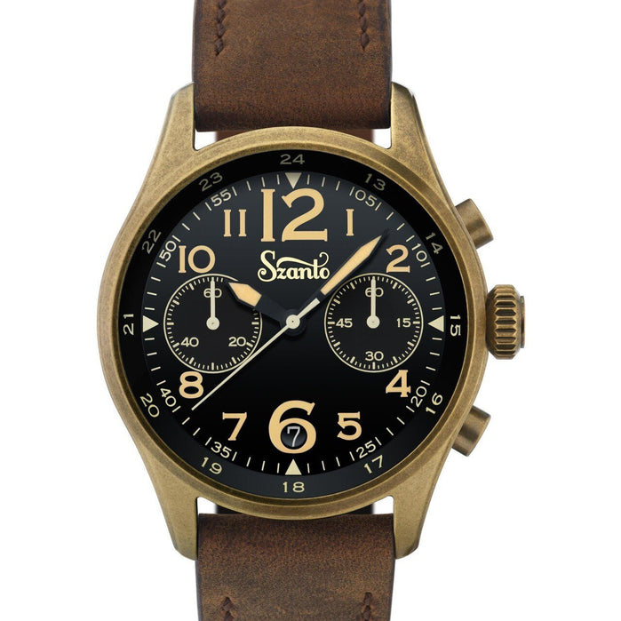 Szanto Desert Sands Chronograph Antique Bronze Black Brown angled shot picture