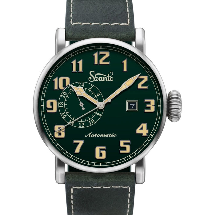 Szanto Big Aviator Automatic Green angled shot picture