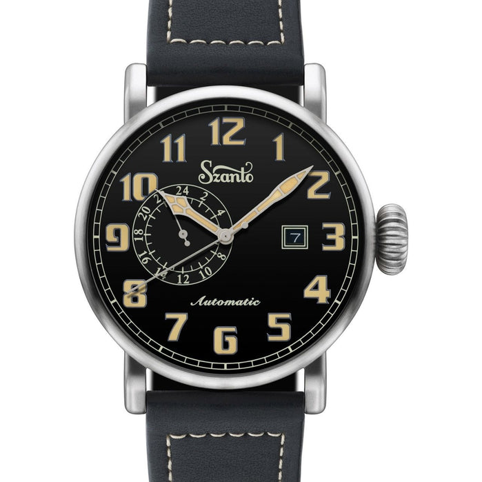 Szanto Big Aviator Automatic Black Black angled shot picture