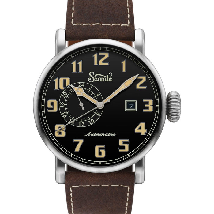 Szanto Big Aviator Automatic Black Brown angled shot picture
