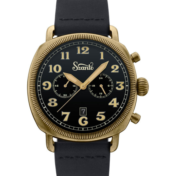 Szanto Coin Cushion Chronograph Antique Bronze Black angled shot picture