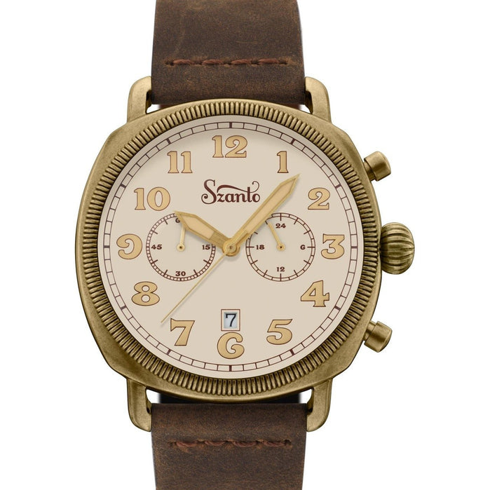 Szanto Coin Cushion Chronograph Antique Bronze Cream Brown angled shot picture