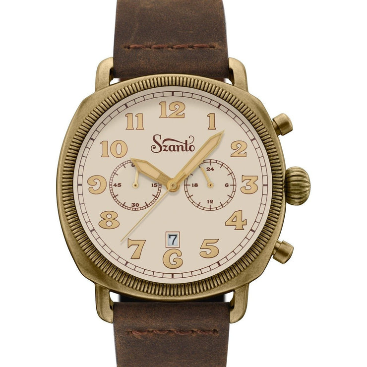 Szanto Coin Cushion Chronograph Antique Bronze Cream Brown