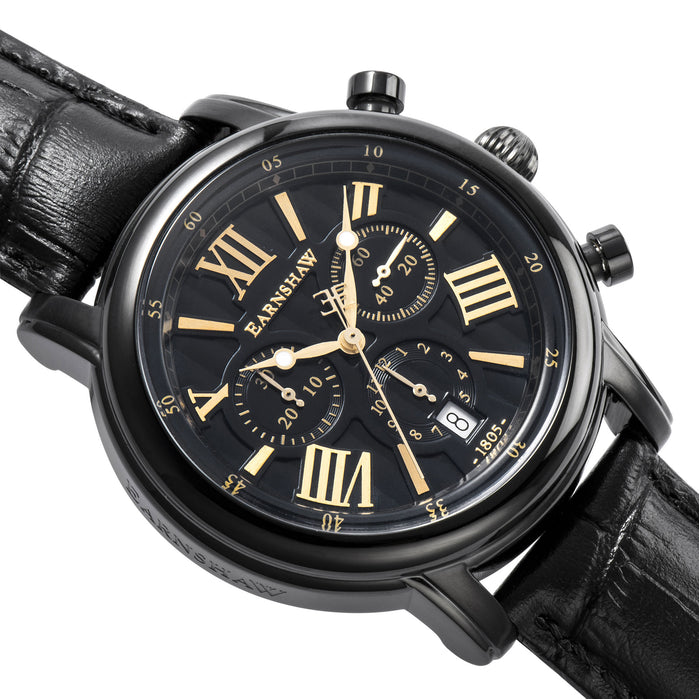 Thomas Earnshaw Longcase Swiss Chronograph Black Gold angled shot picture