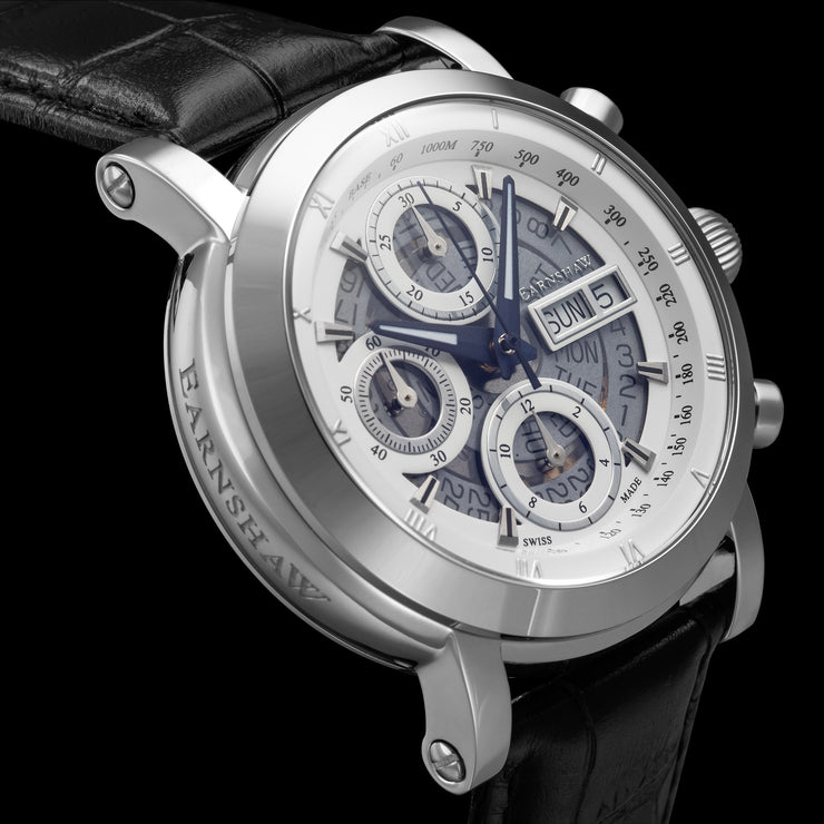 Thomas Earnshaw Longcase Swiss Automatic Chronograph Silver Black