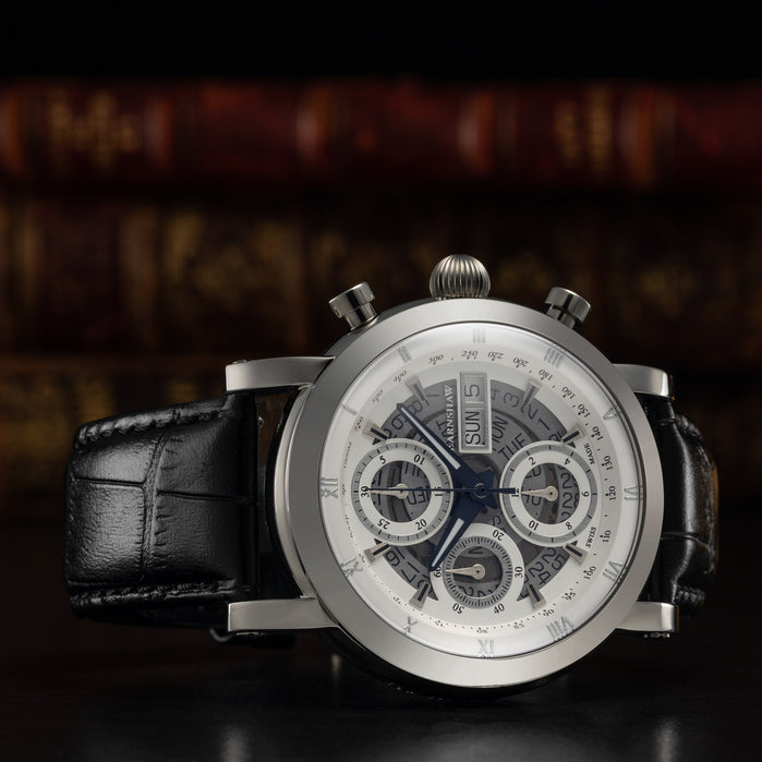 Thomas Earnshaw Longcase Swiss Automatic Chronograph Silver Black angled shot picture