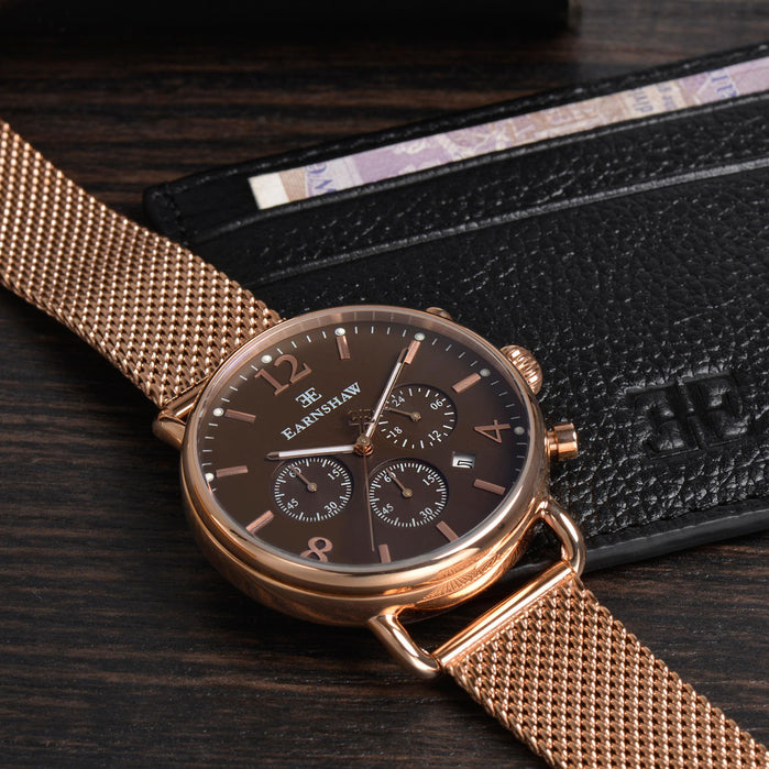 Thomas Earnshaw Investigator Chronograph Rose Gold Mesh angled shot picture