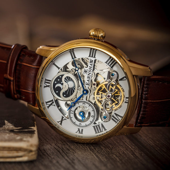 Thomas Earnshaw Longitude Automatic Gold Brown White angled shot picture