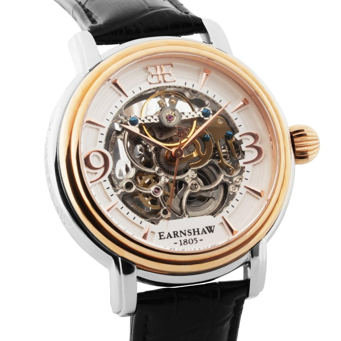 Thomas Earnshaw Longcase Automatic Silver Rose Gold angled shot picture