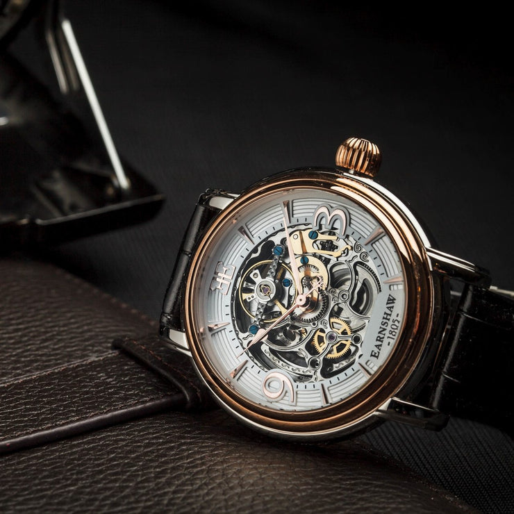 Thomas Earnshaw Longcase Automatic Silver Rose Gold