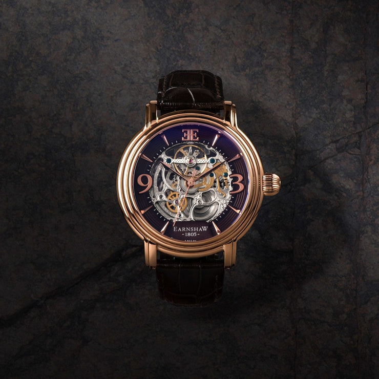 Thomas Earnshaw Longcase Automatic Rose Gold Brown
