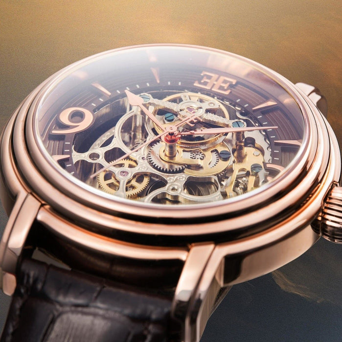 Thomas Earnshaw Longcase Automatic Rose Gold Brown angled shot picture