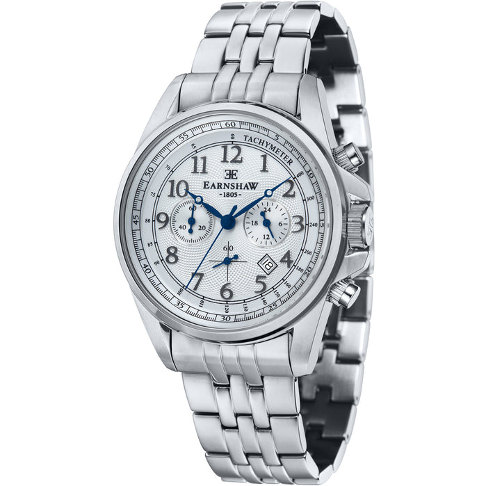 Thomas Earnshaw Commodore Chronograph Silver SS angled shot picture