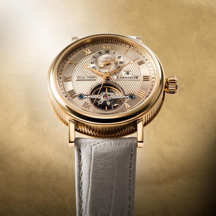 Thomas Earnshaw Beaufort Automatic Champagne angled shot picture