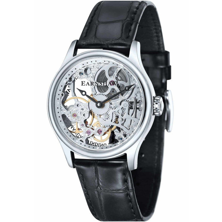 Thomas Earnshaw Bauer Hand Wind Skeleton Silver Black