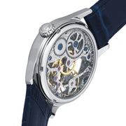 Thomas Earnshaw Bauer Hand Wind Skeleton Silver Blue