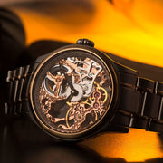 Thomas Earnshaw Bauer Hand Wind Skeleton Silver Rose Gold