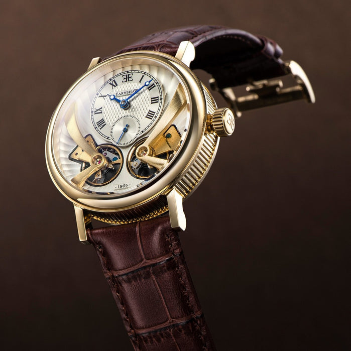 Thomas Earnshaw Beaufort Anatolia Automatic Gold Brown White angled shot picture