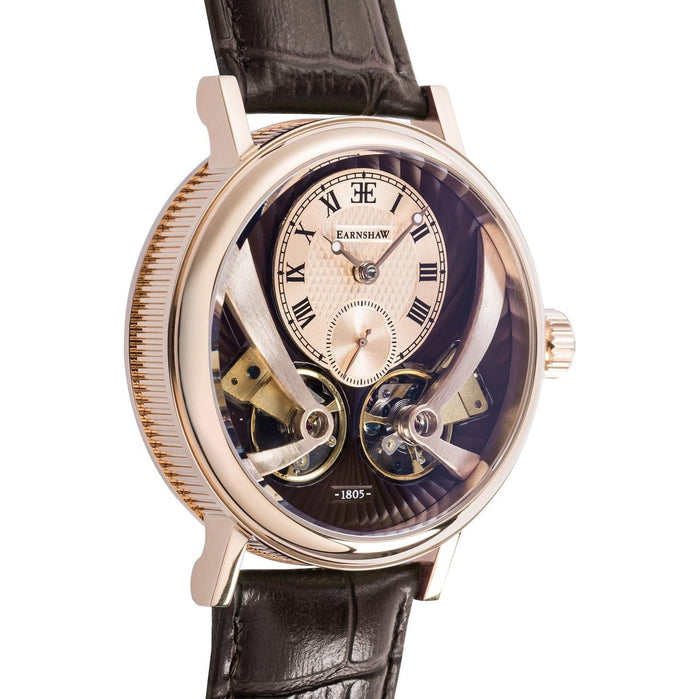 Thomas Earnshaw Beaufort Anatolia Automatic Rose Gold Brown angled shot picture