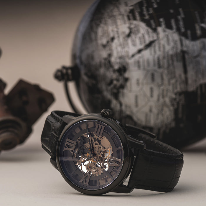 Thomas Earnshaw Longitude Skeleton Mechanical Black angled shot picture