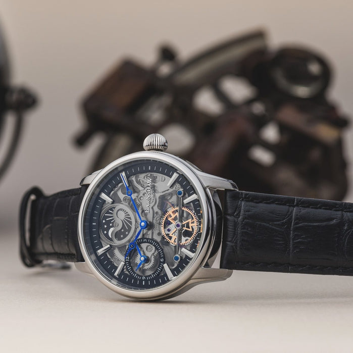 Thomas Earnshaw Longitude Shadow Automatic Silver Black angled shot picture
