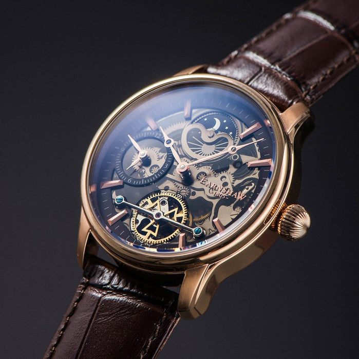 Thomas Earnshaw Longitude Shadow Automatic Brown Rose Gold angled shot picture