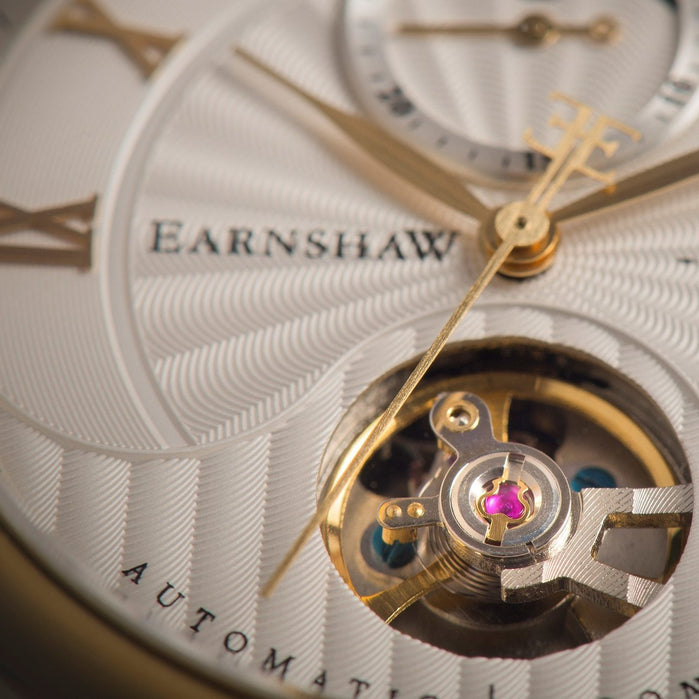 Thomas Earnshaw Longitude Moonphase Automatic Gold Green angled shot picture