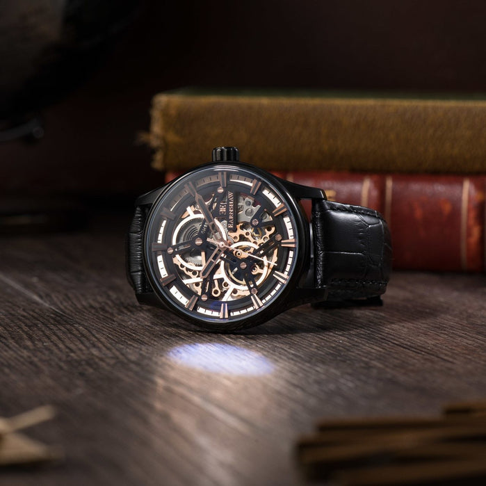 Thomas Earnshaw Beagle Automatic Woolwich Edition Rose Gold Black angled shot picture