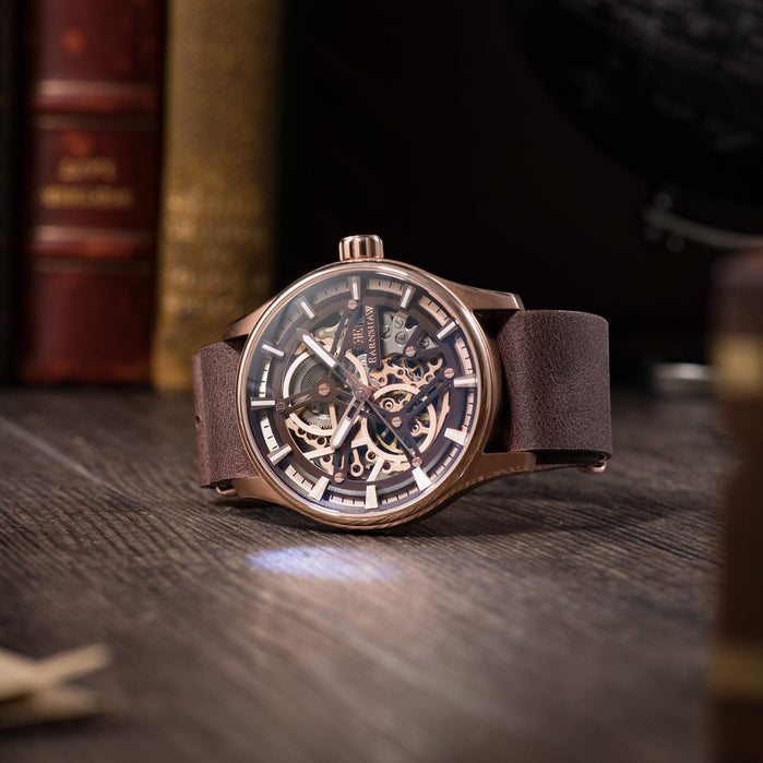 Thomas Earnshaw Beagle Automatic Woolwich Edition Rose Gold Brown angled shot picture