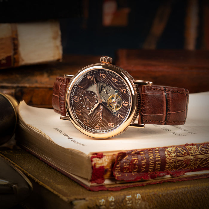 Thomas Earnshaw Beaufort Open Heart Automatic Brown Rose Gold angled shot picture