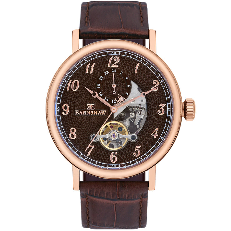 Thomas Earnshaw Beaufort Open Heart Automatic Brown Rose Gold