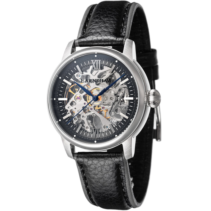Thomas Earnshaw Cornwall Skeleton Automatic Black Silver angled shot picture