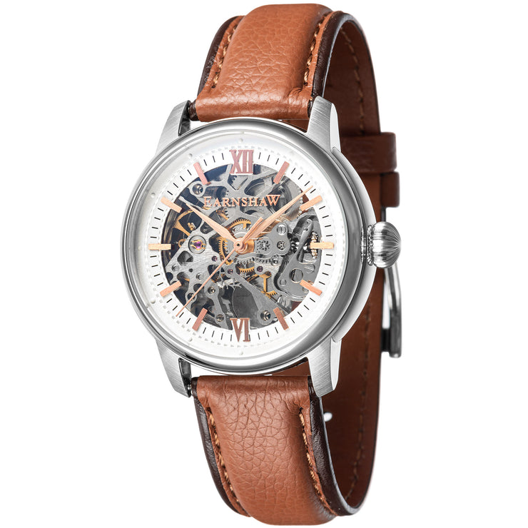 Thomas Earnshaw Cornwall Skeleton Automatic Silver Tan