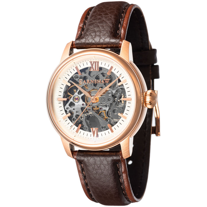 Thomas Earnshaw Cornwall Skeleton Automatic Brown Rose Gold angled shot picture