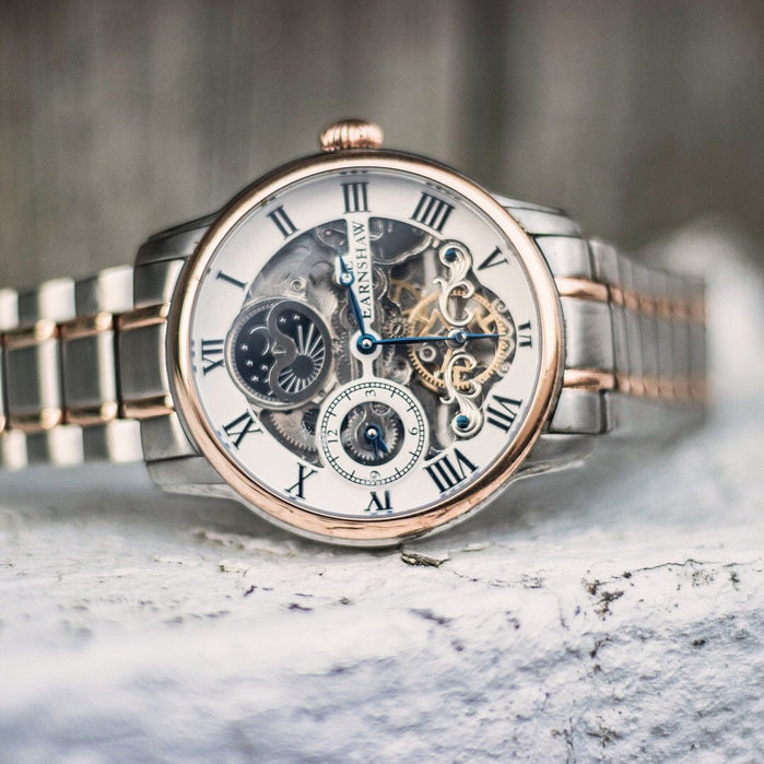 Thomas Earnshaw Longitude Automatic Silver Rose Gold angled shot picture