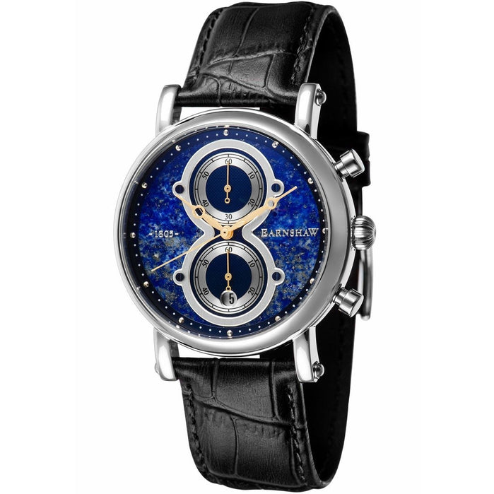 Thomas Earnshaw Maskelyne Chronograph Lapis Blue Black angled shot picture