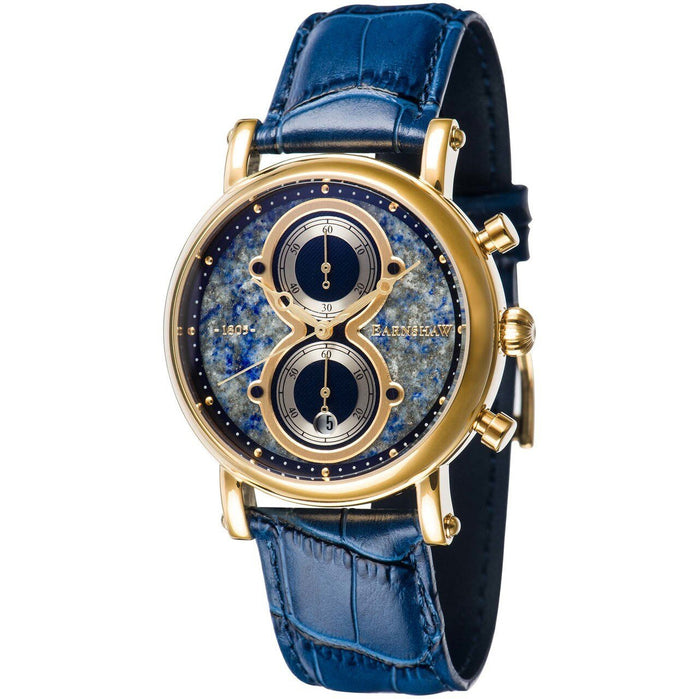 Thomas Earnshaw Maskelyne Chronograph Lapis Blue Gold angled shot picture