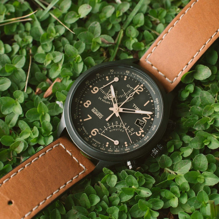 Timex Intelligent Quartz Flyback Chrono Black Tan angled shot picture