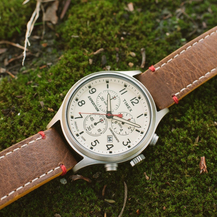 Timex Expediton Scout Chrono Natural Brown angled shot picture