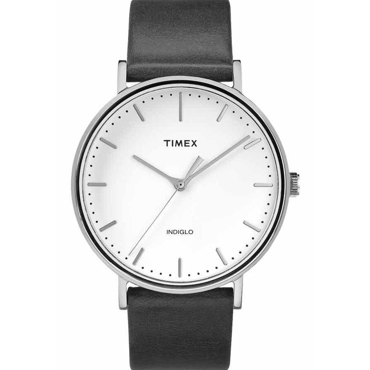Timex Fairfield Leather Silver White