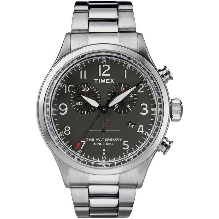 Timex Waterbury Traditional Chrono Black Silver SS angled shot picture
