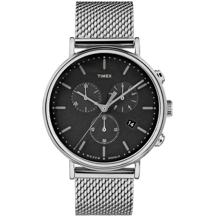Timex Fairfield Chrono Black Silver Mesh angled shot picture