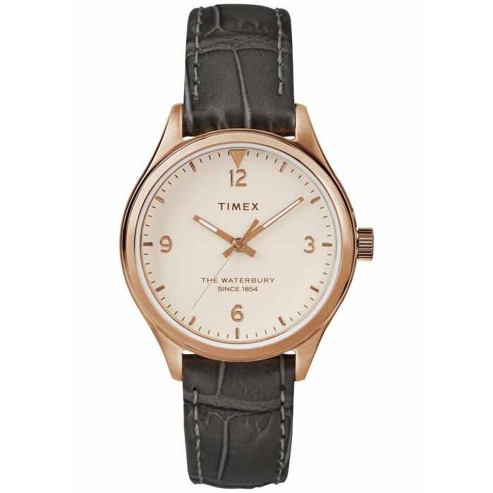 Timex Waterbury 34mm Rose Gold Grey angled shot picture