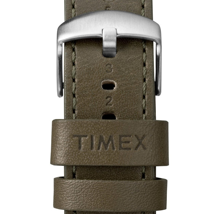 Timex Waterbury Traditional Chrono Silver Olive angled shot picture