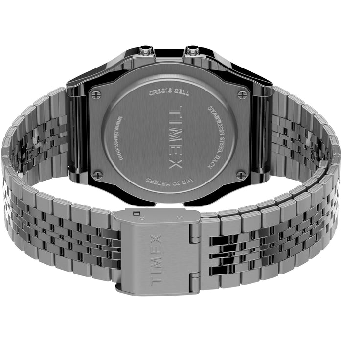 Timex T80 Digital Silver SS angled shot picture
