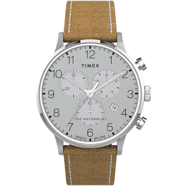 Timex Waterbury Classic Chronograph 40mm Tan Silver