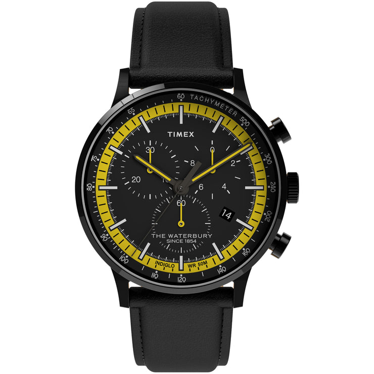 Timex Waterbury Classic 40mm Chronograph Black Yellow