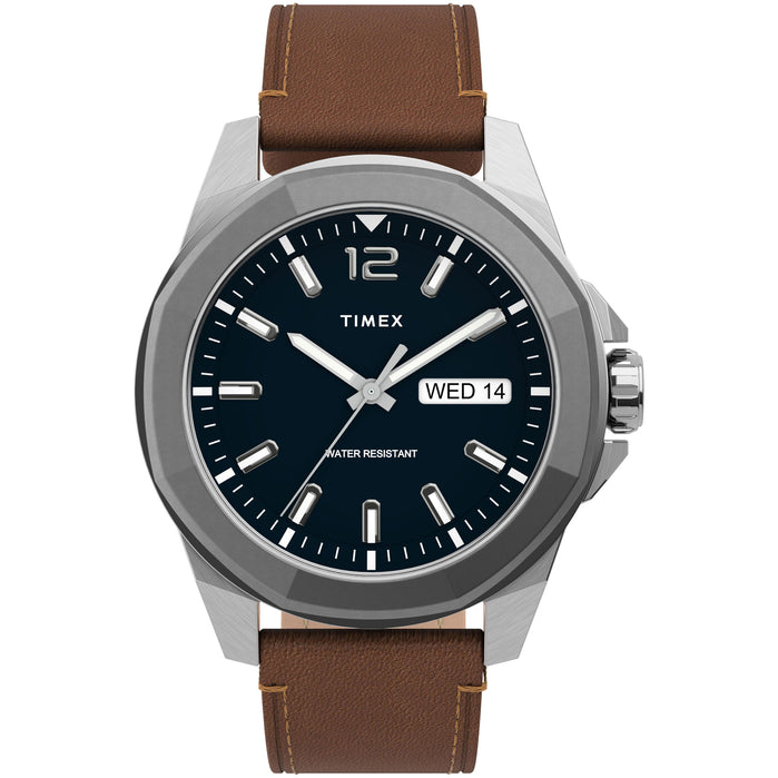 Timex Essex Avenue 44mm Blue Brown angled shot picture