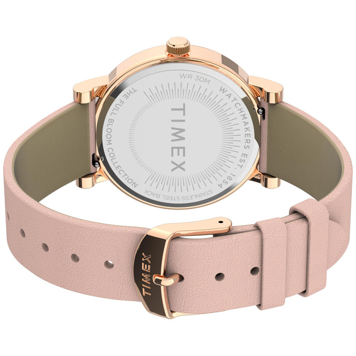 Timex Full Bloom 38mm Floral Rose Gold Crystal Pink angled shot picture
